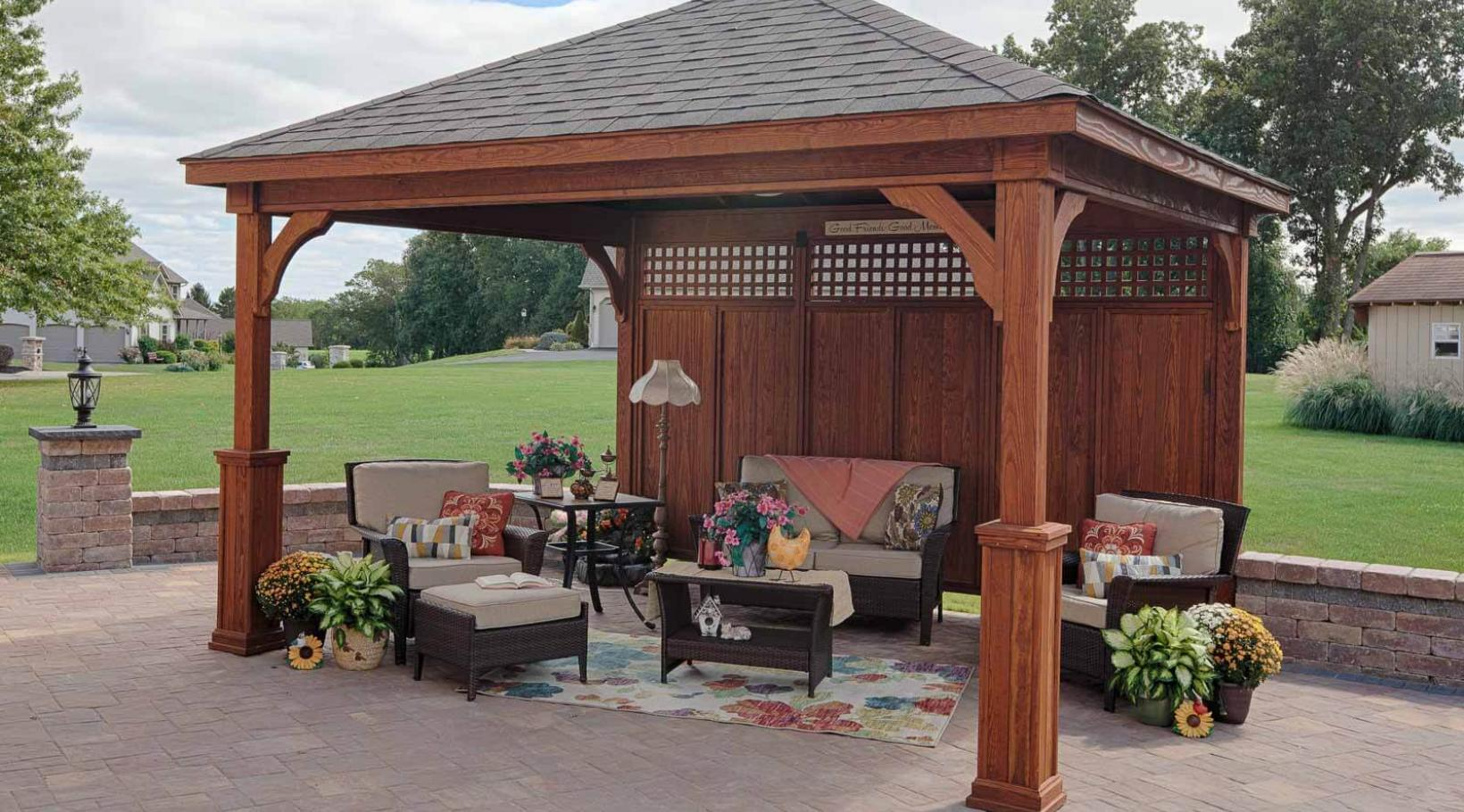 Traditional Wood Pavilion in Canyon Brown Stain