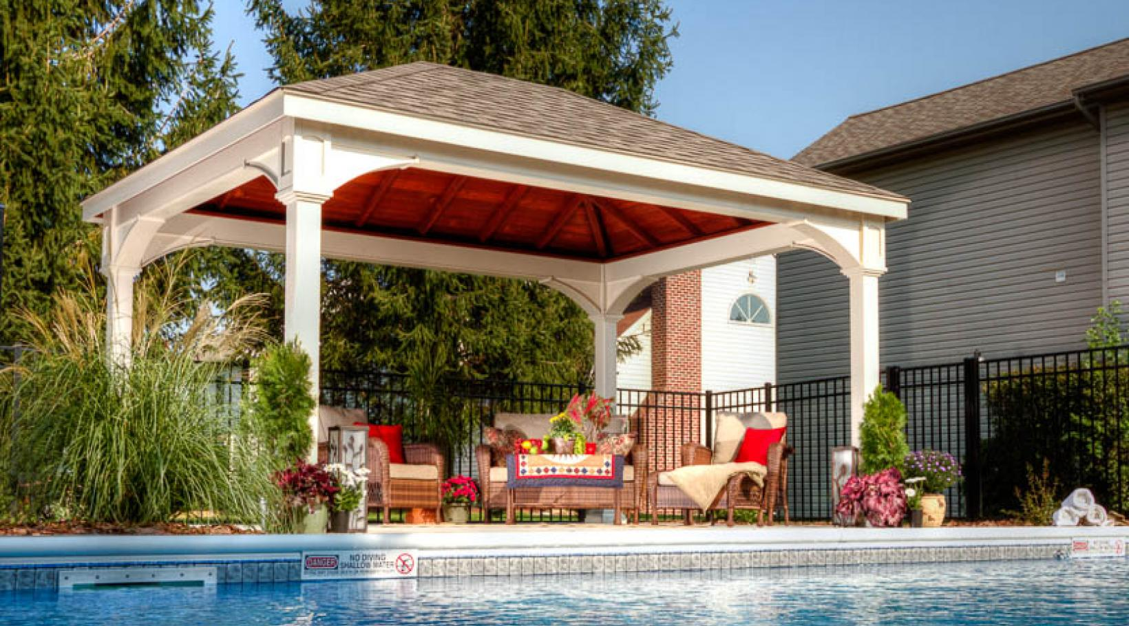 Outdoor pavilion by the pool | River View Outdoor Products