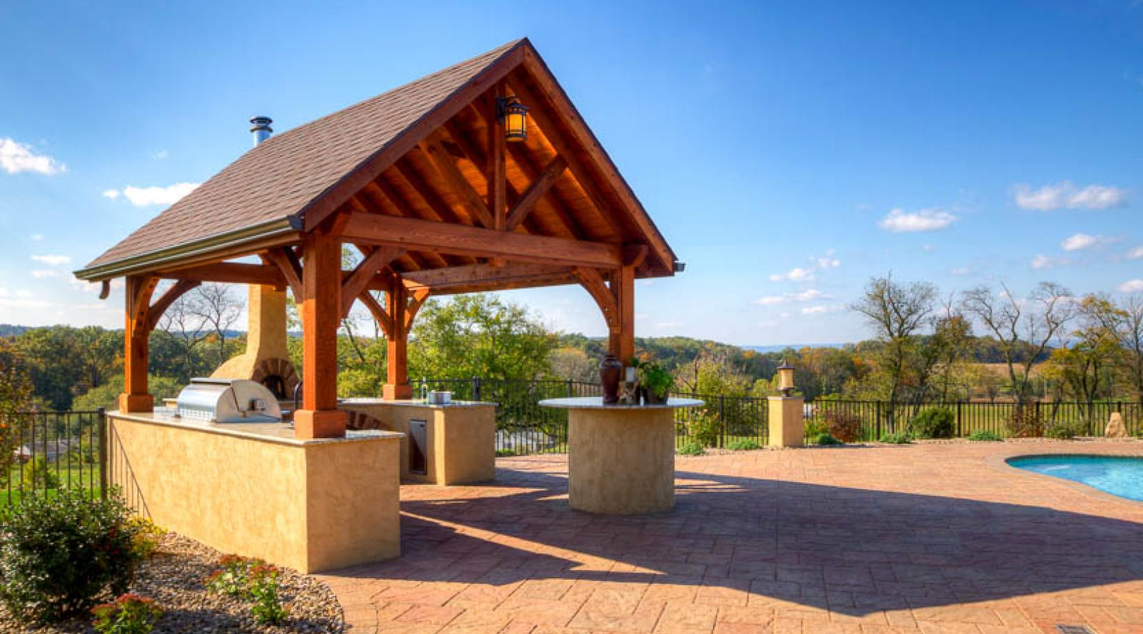 Timber Frame Pavilion from River View Outdoor Products