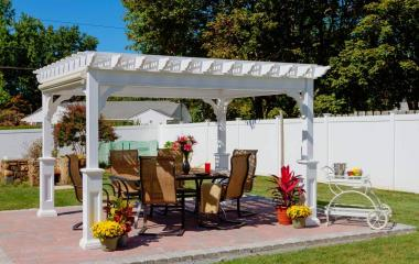 10x12' Traditional White Vinyl Pergola with Superior Posts and EZ-Shade Side Curtain