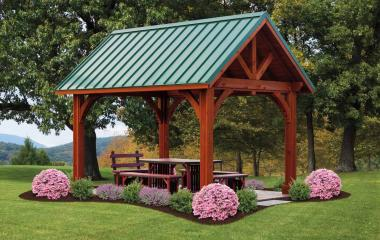 10x14' Alpine Cedar Wood Pavilion in Canyon Brown Stain with Metal Roof