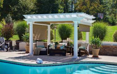 10x14' Artisan White Vinyl Pergola with 10