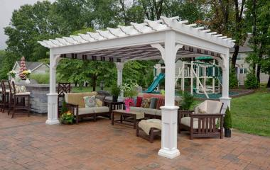 10x14' Traditional White Vinyl Pergola with Superior Posts and EZ-Shade Canopy