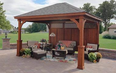 12x14' Traditional Wood Pavilion in Canyon Brown Stain with Asphalt Shingles, Superior Posts and Privacy Wall