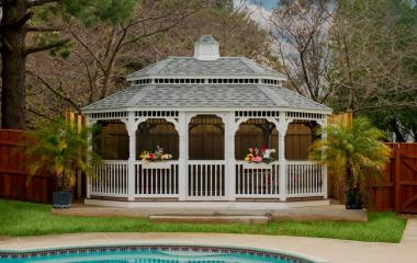12x16' Oval White Vinyl Gazebo with Pagoda Roof, Screens and Cupola