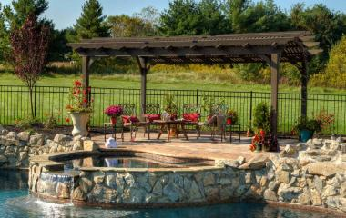 12 x 17 foot hearthside pergola in cinder stain