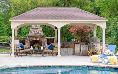 12x20' Traditional Ivory Vinyl Pavilion with Asphalt Shingles
