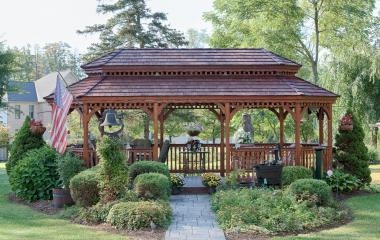12x24' Oval New England Style Wood Gazebo with Pagoda roof, Cedar Shakes and Canyon Brown Stain