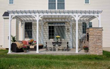 14x20' Traditional White Vinyl Pergola with Lattice Roof, Higher Post and Custom Post Layout