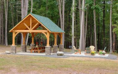 14x24' Alpine Cedar Wood Pavilion with Custom Stain and Asphalt Shingles