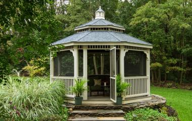 16' Octagonal Country Style Ivory Vinyl Gazebo with 5x5' Posts, Pagoda Roof, Cupola, Rubber Slate and Screens