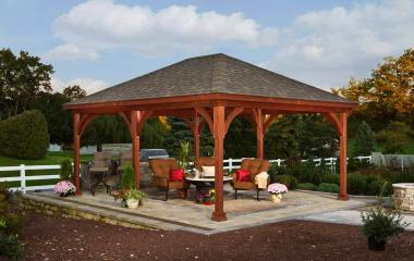 16x20' Traditional Wood Pavilion in Canyon Brown Stain with Asphalt Shingles