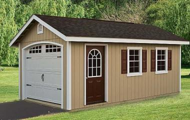 Wooden A frame garage with man door, gable vents, and two windows