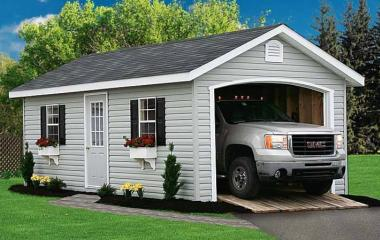 Vinyl A frame garage with man door, two windows, gable vents, and wooden ramp