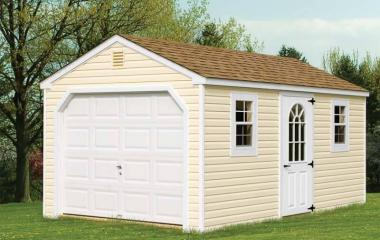 Vinyl A frame garage with man door, two windows, and gable vents