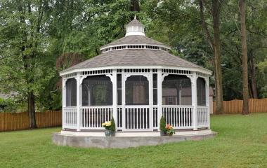 20' Dodecagonal Country Style White Vinyl Gazebo with 5x5' Posts, Screens, Pagoda Roof and Cupola