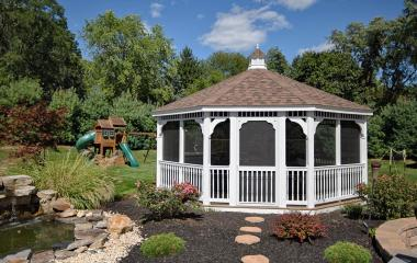 20' Octagonal Colonial Style White Vinyl Gazebo with Vinyl-Tech Windows and Cupola
