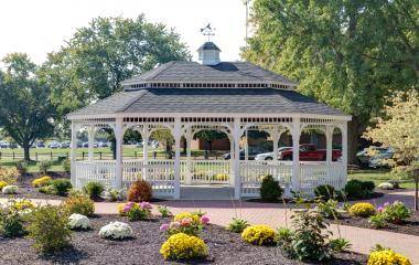 20x28' Oval Colonial Style White Vinyl Gazebo with Pagoda Roof and Cupola