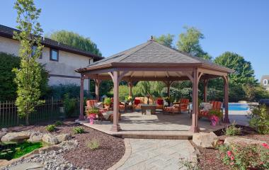 22' Octagonal Dutch Style Gazebo with Straight Headers and Custom Stain