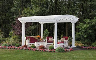 White Vinyl Arcadian Pergola with Round Posts