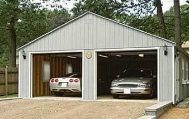 wooden A frame two car garage
