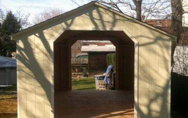 Wooden A-Frame style Garage with two garage doors