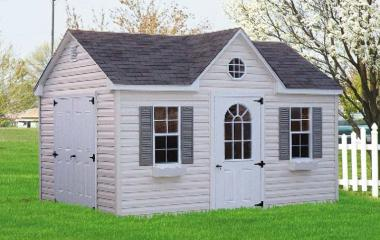 Vinyl a-frame storage shed with dormer, single door, double doors, and two windows