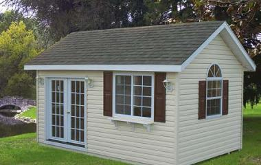 Vinyl a-frame storage shed  with two windows and double 15-lite doors