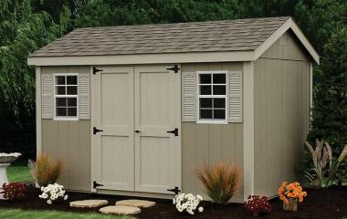 Wooden a-frame shed with double doors and two windows