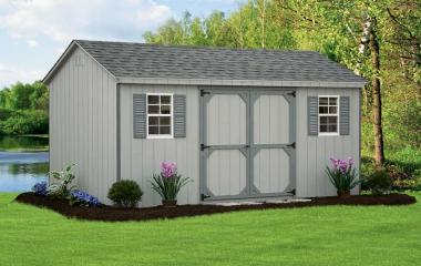 Wooden a-frame storage shed with double doors and two windows