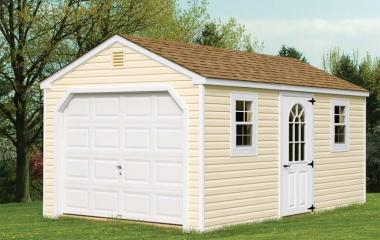 Vinyl a-frame garage with side door, two windows and gable vents