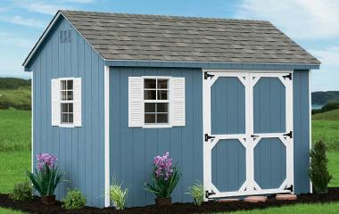 Wooden cape cod storage shed with two windows, double doors, and gable vents