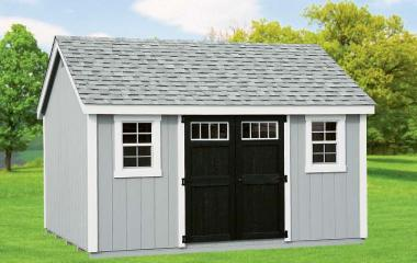 Wooden cape cod storage shed with two windows and double doors with transom windows