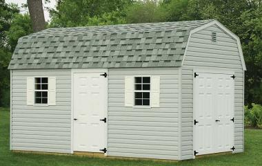 Vinyl Dutch Barn style Garage with man door and two windows