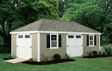 Wooden hip roof storage shed with two windows and two sets of double doors
