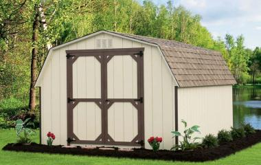 Wooden Mini Barn with double doors and gable end vents
