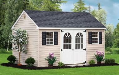 Vinyl cape cod storage shed with double doors and two windows