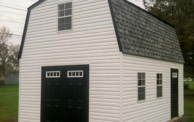 Vinyl Dutch Barn 2-story Storage Shed with double end doors and side man door
