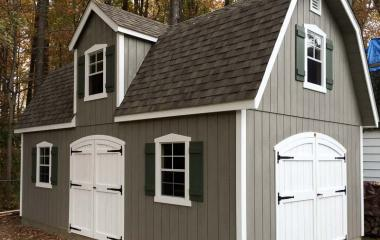 Vinyl Dutch Barn 2-story Storage Shed with dormer and two sets of double doors