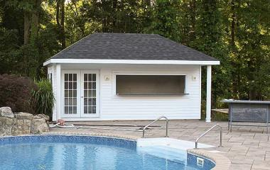 vinyl hip roof pool house with long counter window