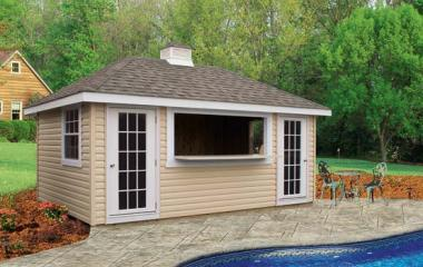 vinyl hip roof pool house with long counter window, two doors, one side window, and cupola