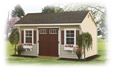 Vinyl quaker style storage shed with double doors and two windows