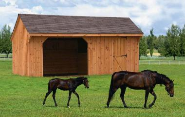Wooden quaker style horse barn