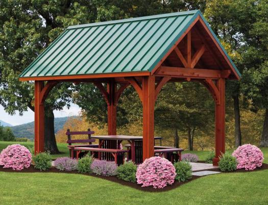 10 by 14 foot cedar wood Pavilion