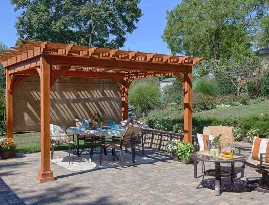 stained 12 x 12 wooden pergola