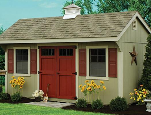 Quaker-style shed with wooden siding
