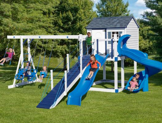 Vinyl swing set at Riverview Outdoor Products
