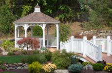 10' Octagonal Country Style White Vinyl Gazebo with Cupola