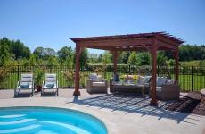 10x12' Traditional Wood Pergola in Mahogany Stain