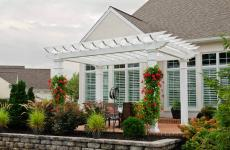 "10x14' Artisan White Vinyl Pergola with 8x8"" Posts"